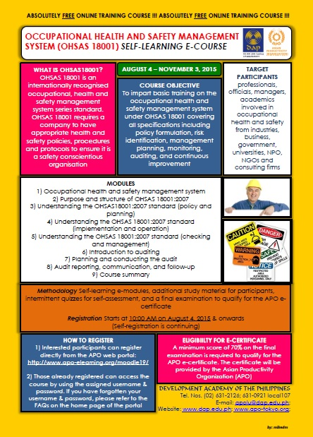 Poster for APO Self-learning e-Course on Occupational Health and Safety Management System (OHSAS 18001)